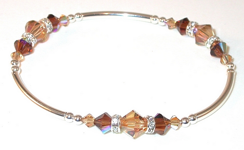 2-tone BROWN TOPAZ Crystal Bracelet Sterling Silver Swarovski Elements