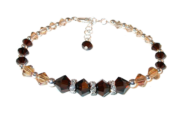 SWAROVSKI CRYSTAL Elements Sterling Silver Bracelet DARK MOCHA BROWN Light Topaz