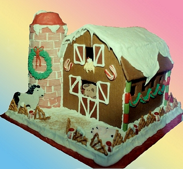 Gingerbread House santa's barn barnyard horse pig chicken