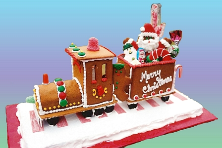 gingerbread train santa's train santa train santas train Gingerbread House Candies Inside